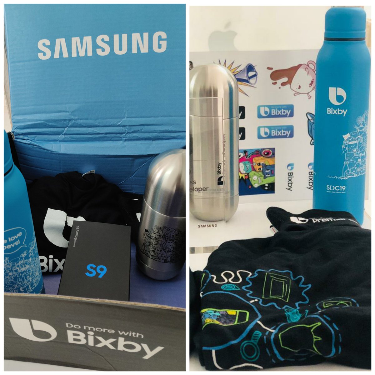 Got the swag box from Bixby🤩 Try saying find recipes to your Bixby😋  Thanks @Justcr1sp @PeteHaas @Mirrorsh .  @BixbyDevelopers @SamsungMobile @bixby #swagbox #bixby #bixbydevelopers #Samsung https://t.co/7MbiTiFCba
