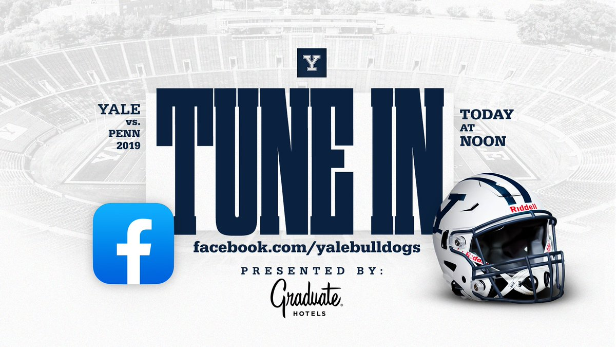 🚨TUNE IN 🚨Take your lunch break with the Bulldogs and watch the 2019 edition of Yale vs. Penn brought to you by @Graduate_Hotels! WATCH ➡️facebook.com/yalebulldogs #ThisIsYale