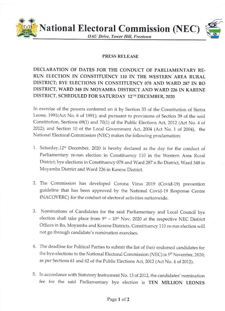 @NECsalone announces dates for rerun elections in constituency 110 in #Freetown and bye elections in other constituencies in Bo, Moyamba and Karene as well as paramount chieftaincy elections. #SierraLeone #SaloneTwitter https://t.co/5KDjVIgdZR