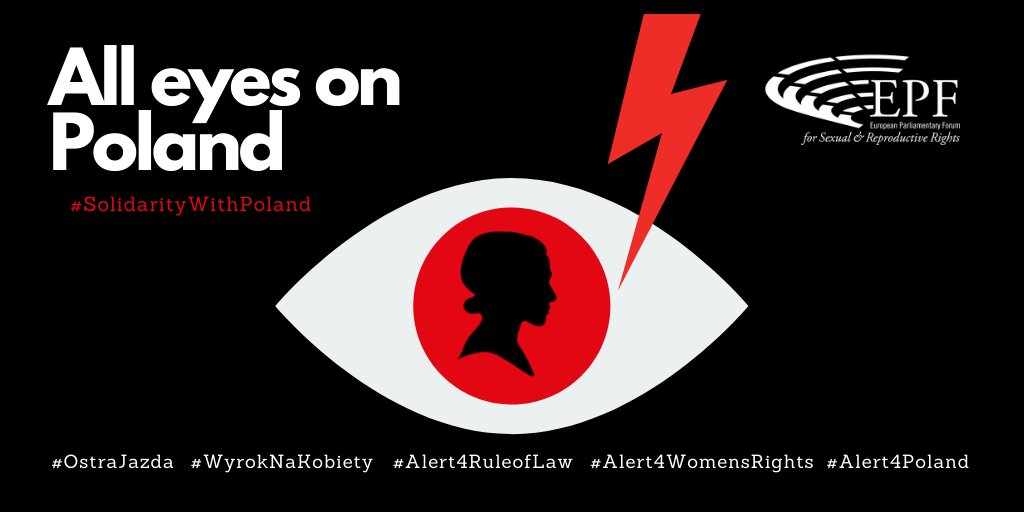 """👀⚡️🚨All eyes on #Poland.  121 parliamentarians sound the alarm as Poland's """"Constitutional Tribunal"""" is set to rule on the country's abortion law on 22 October.   #Alert4RuleofLaw #Alert4WomensRights #Alert4Polandlooks #OstraJazda #WyrokNaKobiety   👉https://t.co/wmu66HXd9o https://t.co/bocfpzU7gZ"""