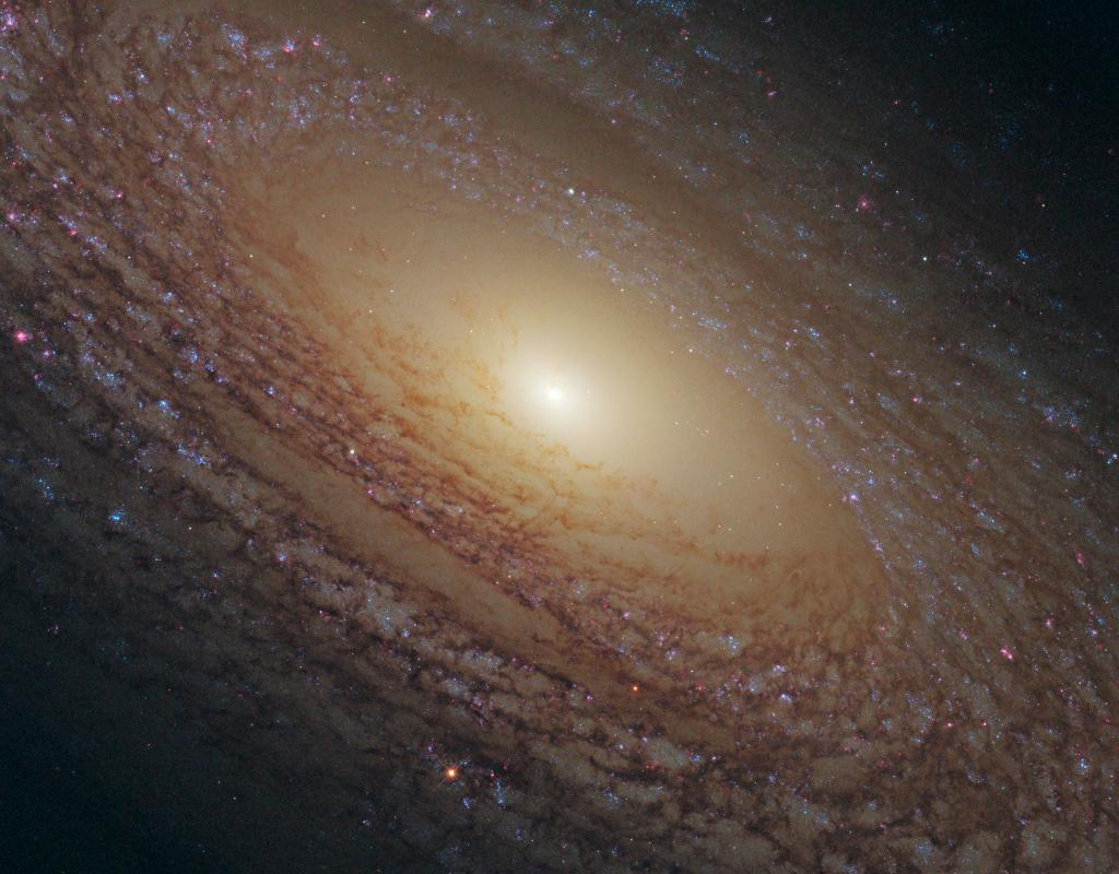 This #HubbleClassic gives a close-up of the center of spiral galaxy NGC 2841, located 46 million light-years away. The galaxys core glows with the light of old stars while clusters of young and middle-aged stars dot the dusty spiral arms: go.nasa.gov/3keO5MR
