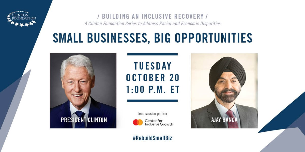 You can't build an inclusive democracy without an inclusive economy. America can only succeed when all our people are given the opportunity to succeed.   I hope you'll join us now for this important conversation: https://t.co/LJ3eCfAPZI #RebuildSmallBiz