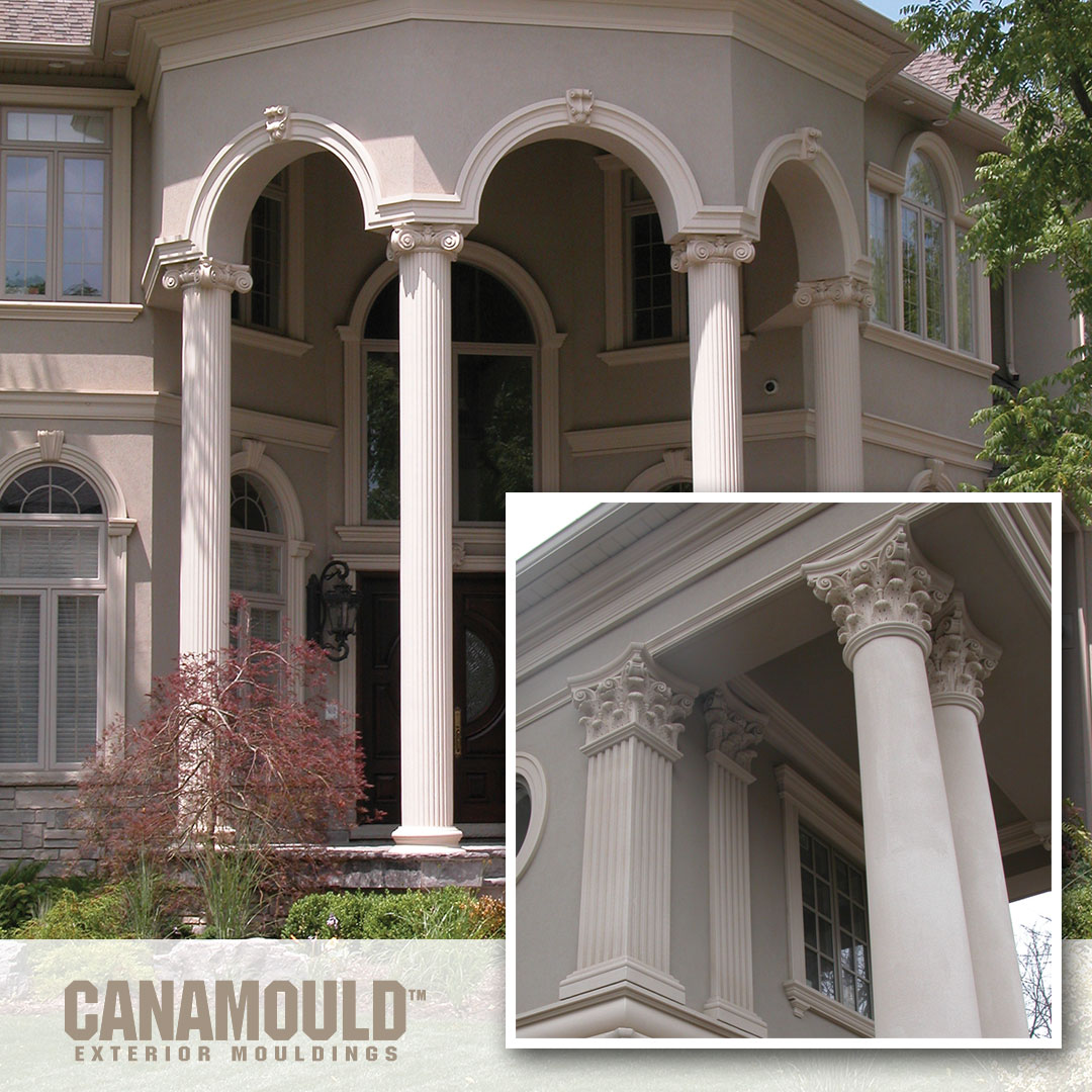 Majestic columns and intricately detailed mouldings by CANAMOULD™ Exterior Mouldings. #exterior #exteriormoulding #exteriortrim #windowtrim #doortrim #architecture #design #exteriordesign #home #architect #homedecor #house #construction #building #eifs #homedesign https://t.co/zoiOhko25c