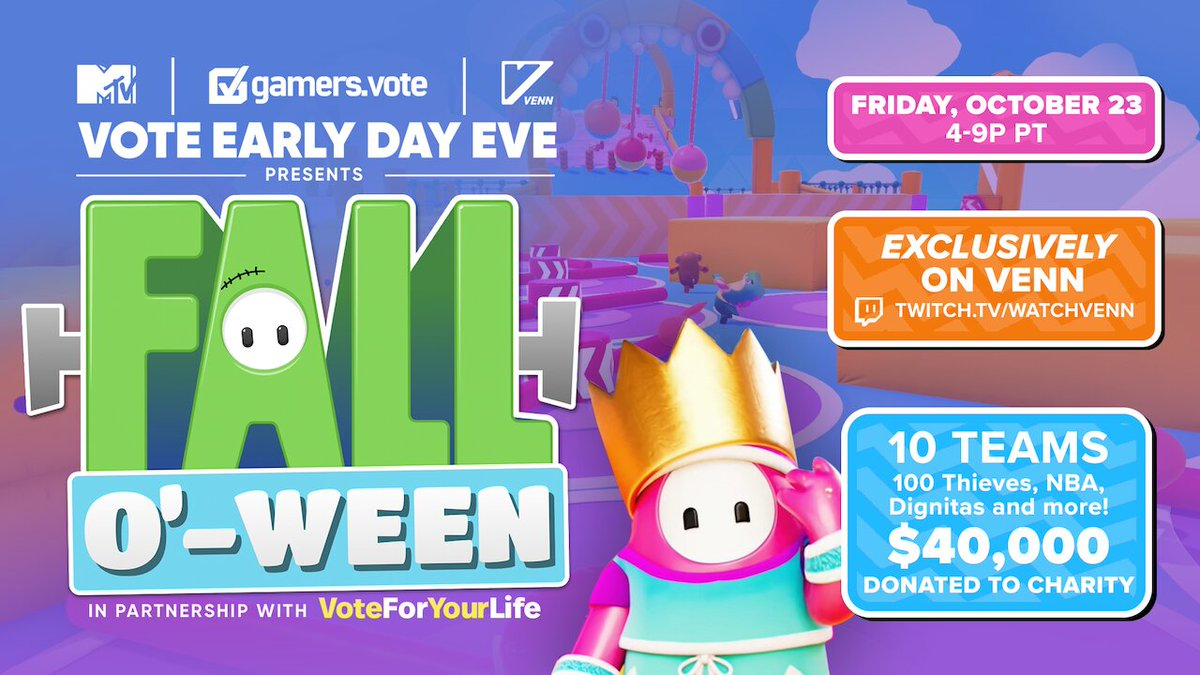 We are so excited to announce the Vote Early Day Eve Fall o' ween Event! Join us for a $40K @FallGuysGame charity brawl along with our partners @MTV  https://t.co/fLkGnqoJLz & @watchvenn  #VoteEarlyDay  Tune in: 📺: https://t.co/kkeqfjyJcf  ⏰: Friday Oct 23rd, 4-9pm PT https://t.co/Jv5EvF7318