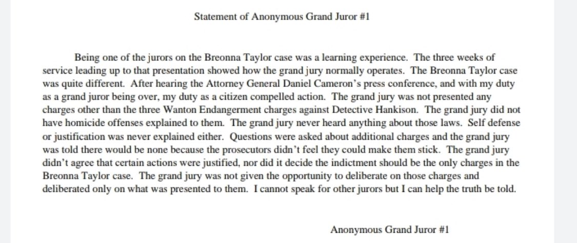 #Breaking: statement from grand juror in #BreonnaTaylor case https://t.co/AaAmCXNGxB