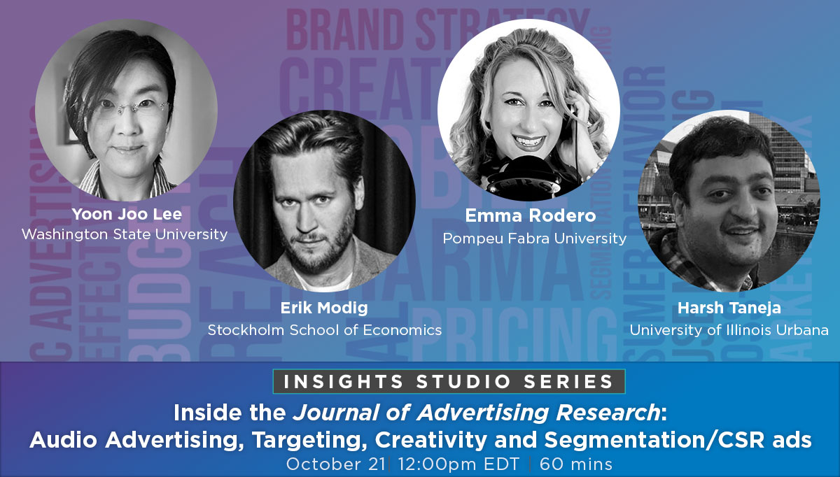 Join our global panel of experts where they will discuss their work on #audio #advertising, targeting, creativity and segmentation/CSR #ads. Tomorrow! Register Now: https://t.co/ZRTtDZNlqB  #mrx https://t.co/3DB4CWpz4O