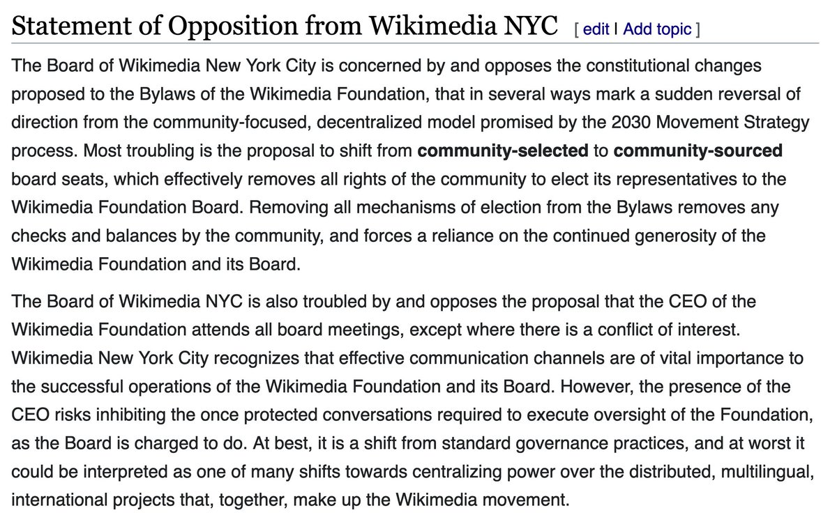 Statement of Opposition to the proposed changes to the Wikimedia Foundation Bylaws https://t.co/45dWkpcVXT https://t.co/dnaMWCjPEE