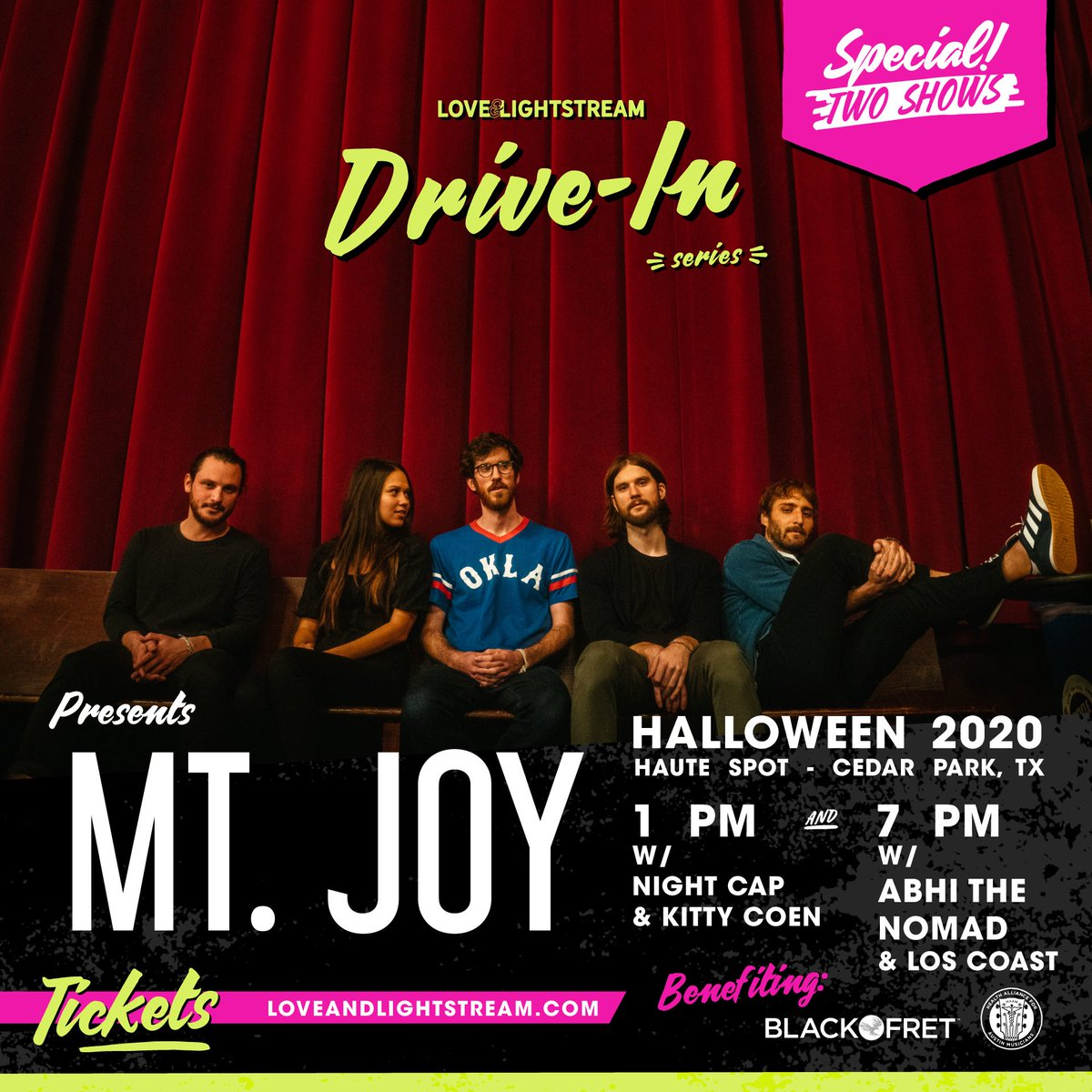 ATX: We're getting not one, but two specials shows on Halloween from 2018 #ACLFest alum @MtJoyBand. ✌️Taking place at the @HauteSpotVenue in Cedar Park, let's do Halloween right this year with a #driveinconcert for the win! 🎃
