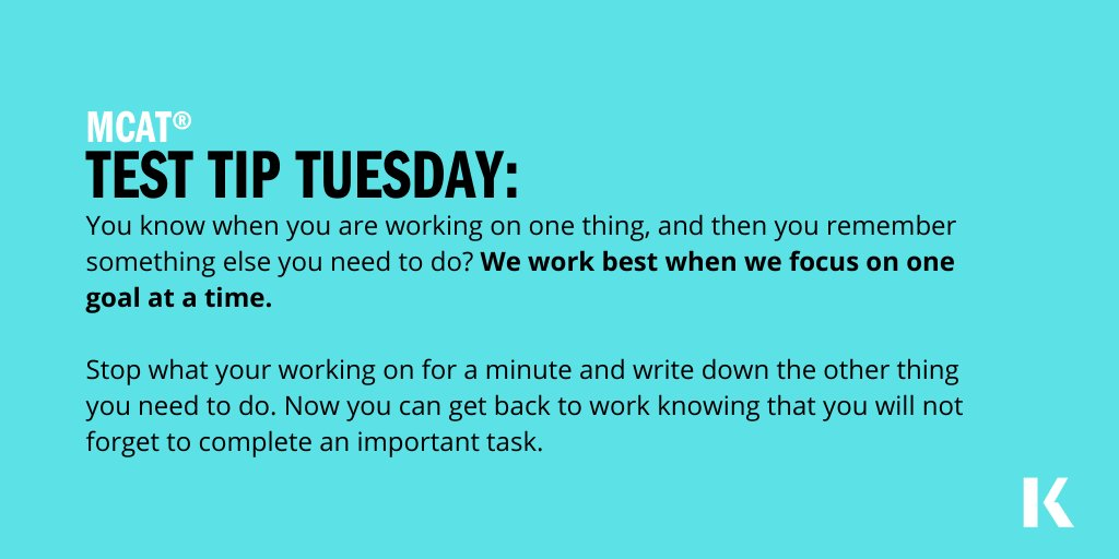 Yeah, I'm looking at you multi-tasker! Try to stay focused on one goal at a time. You've got this!  #testtiptuesday #MCAT #futuredoctor https://t.co/KB3wI1fkDg