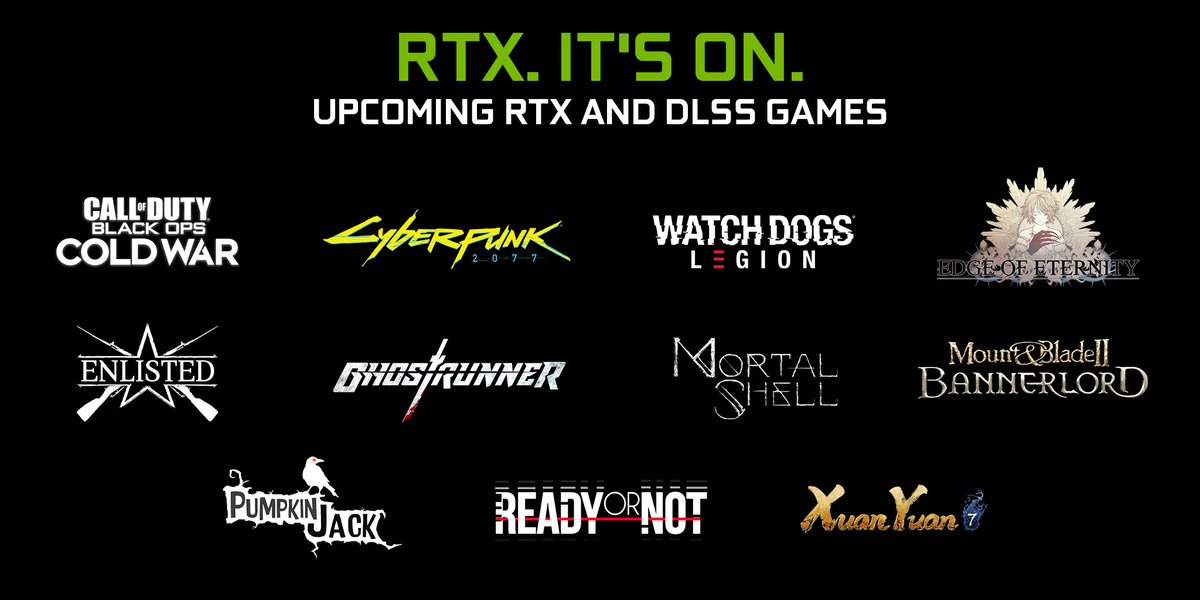This holiday is stacked with a dozen games featuring ray tracing and NVIDIA DLSS:  🟢 Black Ops Cold War 🟢 Cyberpunk 2077 🟢 Watch Dogs: Legion  But WAIT there's MORE!  🟢 Ghostrunner 🟢 Mortal Shell 🟢 Mount & Blade II: Bannerlord  More #RTXOn Games 👉https://t.co/QhqqJR27z8 https://t.co/5HC7J243Lc