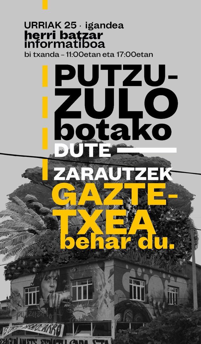 🔴 PUTZUZULO GAZTETXEA BOTAKO DUTE 🔴  Hemen Zarauzko Putzuzulo gaztetxian irakurketa: https://t.co/BmDBIFzmpR