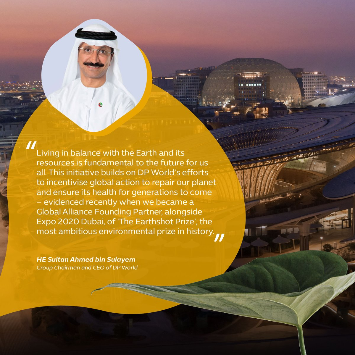 HE Sultan Ahmed bin Sulayem, Group Chairman and CEO of @DP_World addresses the group's commitment to tackling today's pressing environmental challenges and contributing to a world where the environment is protected. #Expo2020 #Dubai #UAE https://t.co/ttQFQkNERO