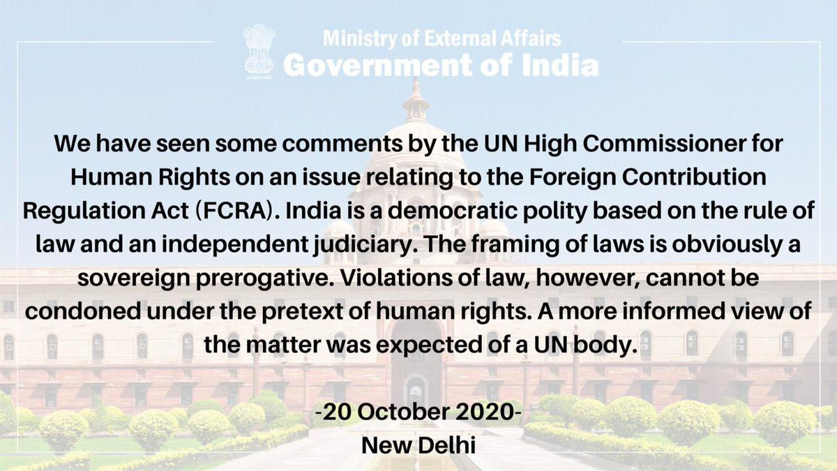 Read our statement on comments by UN High Commissioner for Human Rights on an issue related to Foreign Contribution Regulation Act (FCRA).