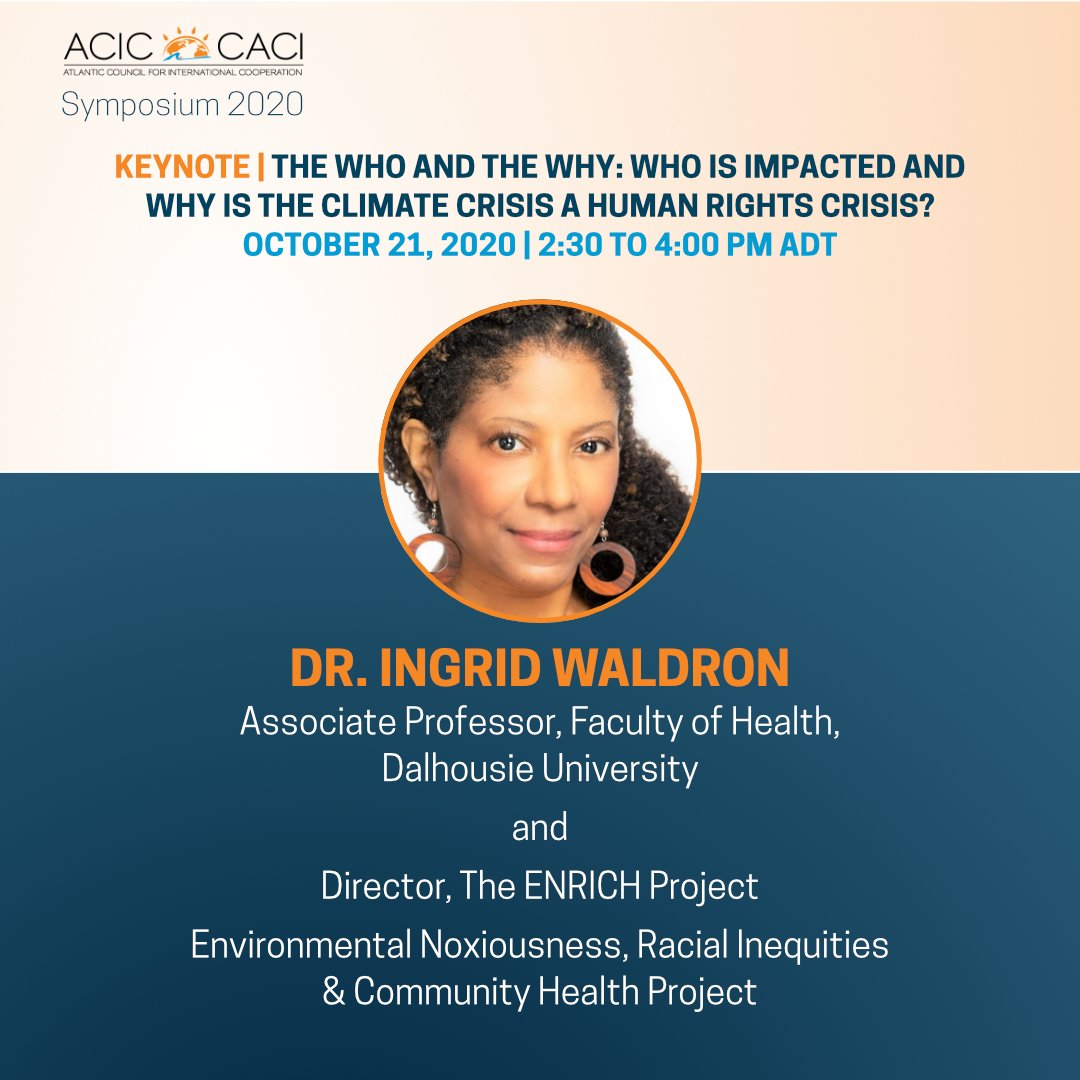 Tomorrow, we discuss environmental racism with Dr. @ingrid_waldron of @DalhousieU and Environmental Noxiousness and Racial Inequities - ENRICH Project at our Symposium. Register now to attend: bit.ly/3nFVwyA