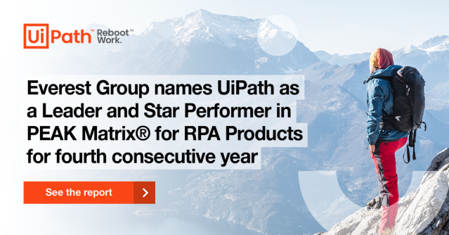 🔥Fresh news in the #automation world: @EverestGroup's #RPA Products PEAK Matrix® Assessment 2020 is out and @UiPath has been recognized as a Leader and Star Performer. Get more insights. #UiPathEmployee https://t.co/z9TgSGFU0K https://t.co/X2OyIUUXJM