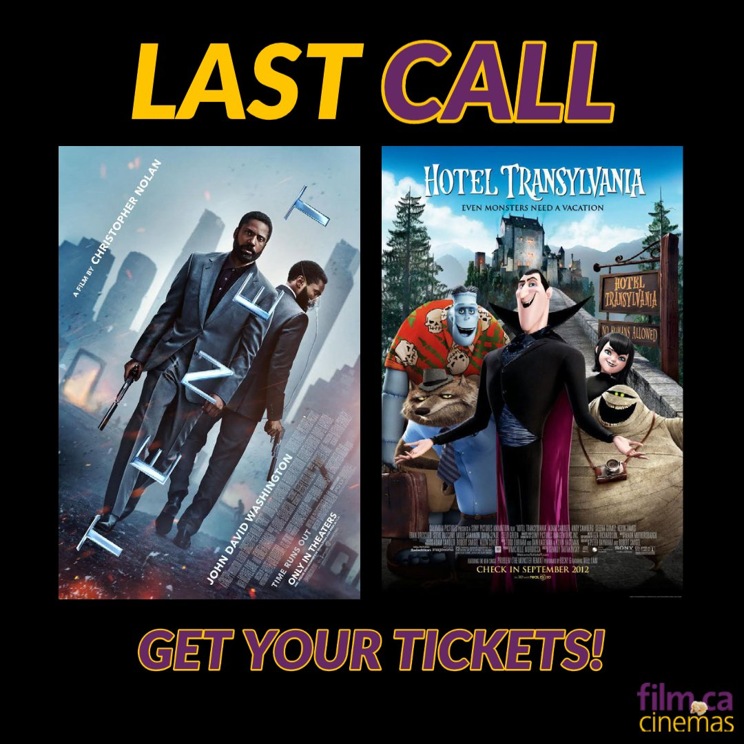 ⚠️ LAST CALL ⚠️  🧛♂️Hotel Transylvania (G) ⏰ Tenet (PG)  Buy your tickets here: https://t.co/0G73QbVjwj  🎟   COVID-19 Procedures: https://t.co/6jbiiTPQ5r 💜  Gone on Friday!!! 🗓   #lastcall #oakville #movies #supportlocal #smallbusiness #cinema #OakvilleON https://t.co/TMyYQlinko