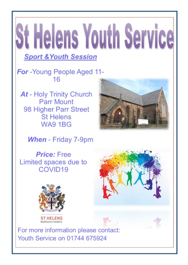 Sport & Youth Session @ Holy Trinity Church,Parr Mount!  For young people aged 11-16 on Friday evenings 7-9 pm.   Free to attend,however we will have limited places due to Covid19 rules.   We hope to see you there!   #fridaynight #youthsession #apartbuttogether #sthelenstogether https://t.co/oIVGh0LzvK