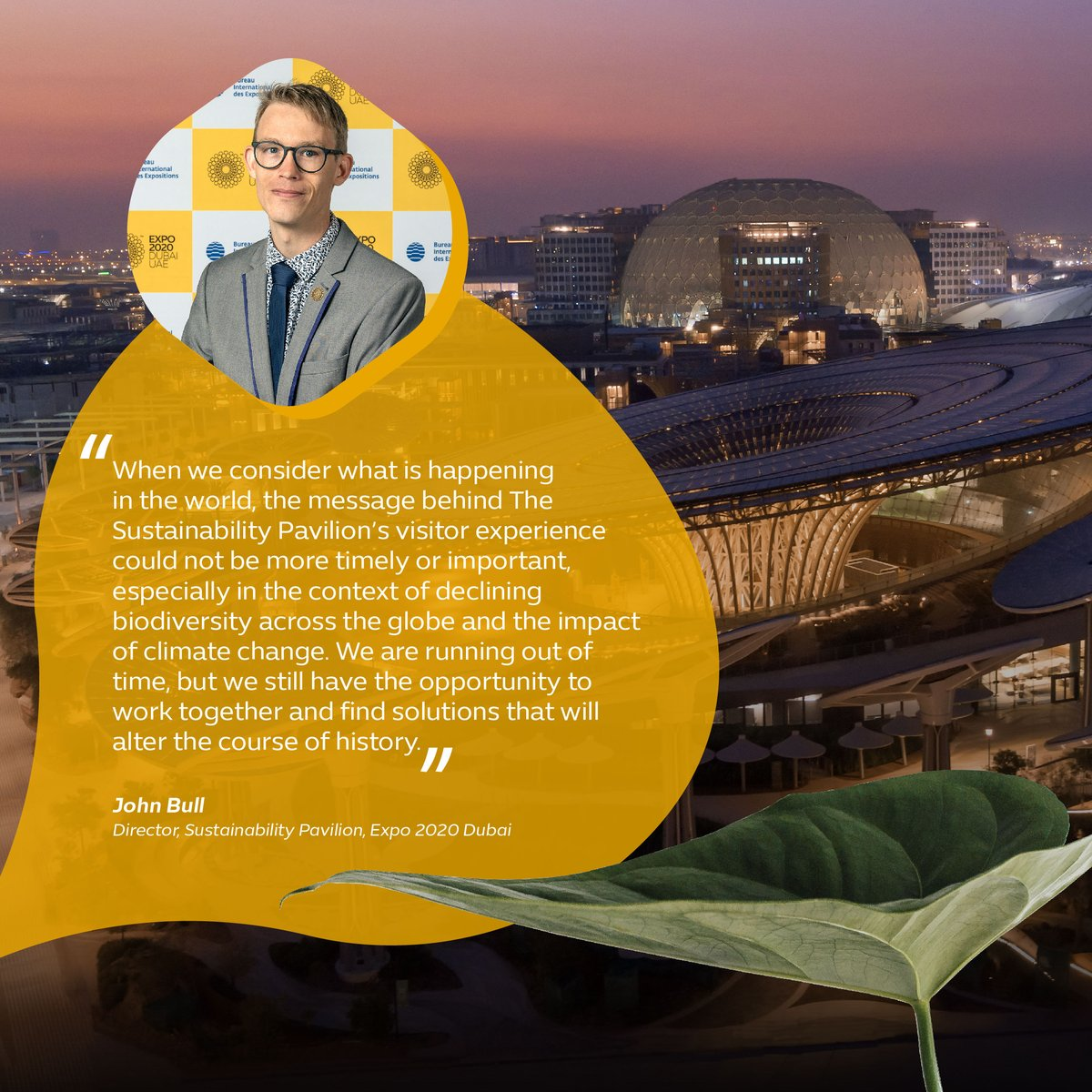 John Bull, Director of the Sustainability Pavilion at Expo 2020 Dubai, discusses how the pavilion and its visitor experience can encourage collaboration and positive action. #Expo2020 #Dubai #UAE https://t.co/8yvqrwpKNE