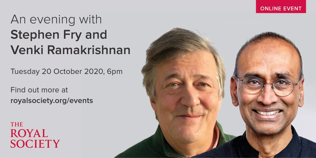 Join us at 6pm this evening to hear from @stephenfry and President of the Royal Society Venki Ramakrishnan as they explore trust in science: https://t.co/4OPyxzpoB5 https://t.co/HeIhGcJc8j