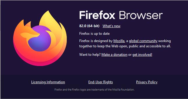 Ya está disponible la nueva versión de mi navegador favorito :) Firefox 82 https://t.co/HbBbgeT6NP