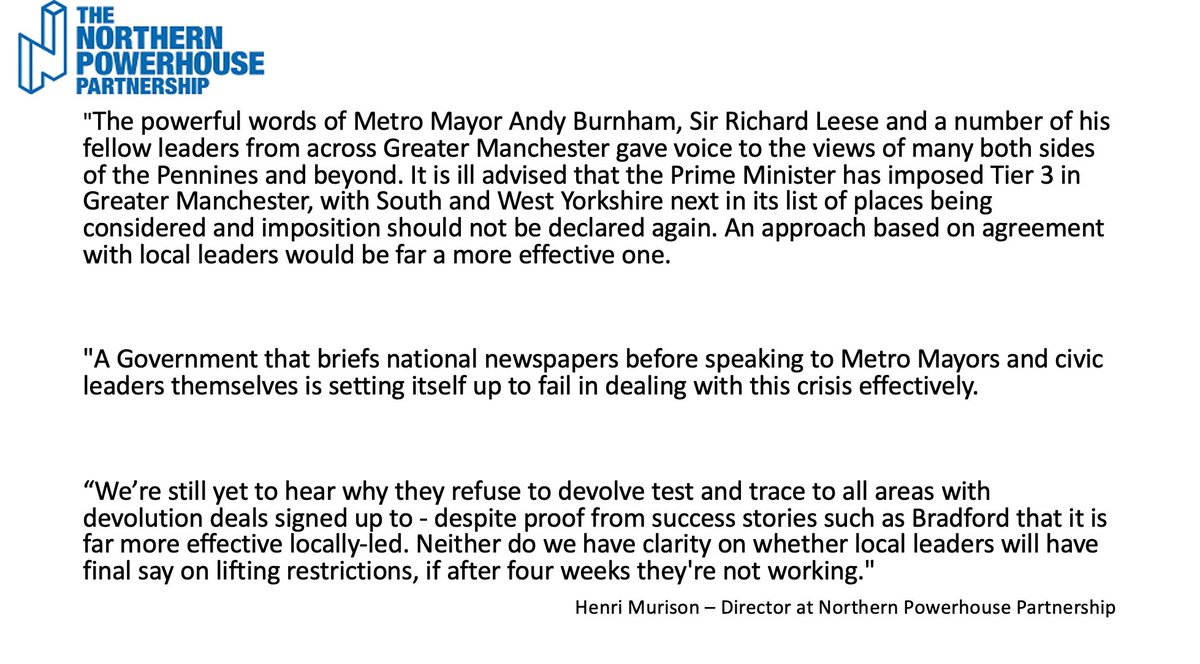 Read @henrimurison statement in response to the new Tier 3 restrictions being announced in Greater Manchester. https://t.co/317jUHYOou
