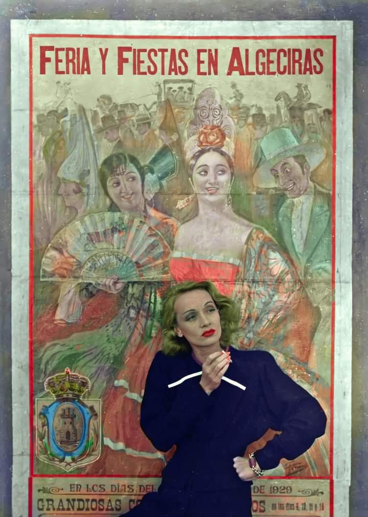 Marlene Dietrich delante de un cartel de la Feria de #Algeciras de 1929. ¿No es un fotón? #dietrich #cine https://t.co/7kwPoHyDYq
