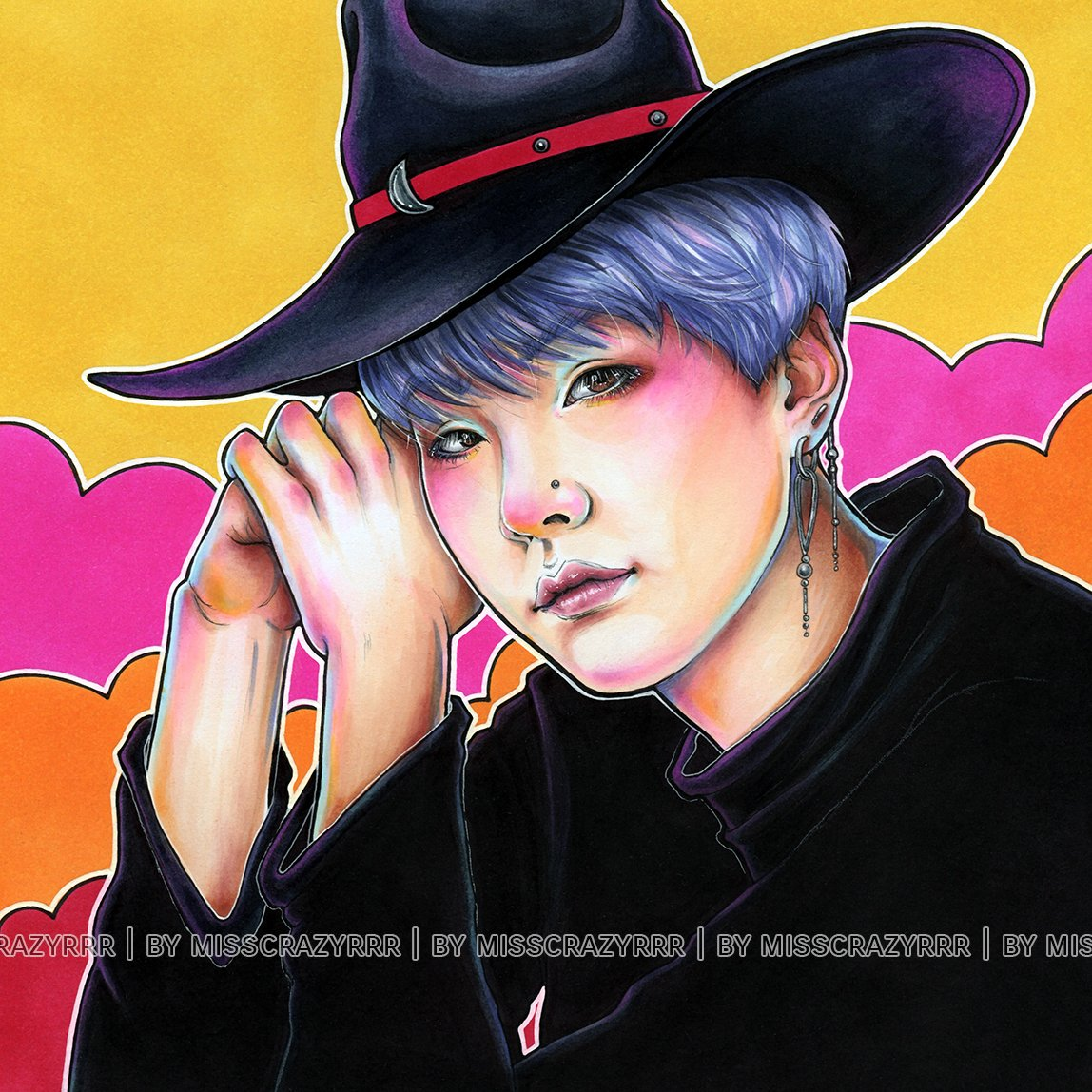 It's a simple simple piece, but I really like the colors~ How abt u? #art #fanart #bts #btsfanart #agustd #suga #yoongi #halloween #witch #Witchtober2020 #copicart #copicmarkers #traditionalart #mixmedia #mad #king #crazy #ink #inking #pastels #mixtape #minyoongi https://t.co/uwMBBuq1EI