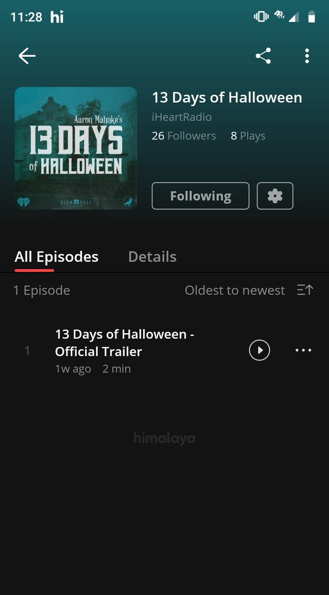 "Ok @himalaya_app there's now 2 episodes of @amahnke's ""13 Days of Halloween"" out now and you don't have either of the 2. What is going on?  #Wild #Crazy #Inconvenience https://t.co/iCuwYrf8bA"
