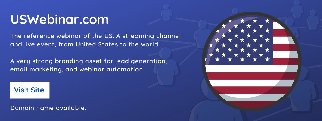 Webinar streaming brings tones of value in the form of brand awareness, engagement, and conversion rate.  https://t.co/umqkd8L7h4 is a very powerful domain name to serve as the leading webinar brand of the United States.  #domainnames #Marketing #webinar #UnitedStatesofAmerica https://t.co/tMCmXMniJr