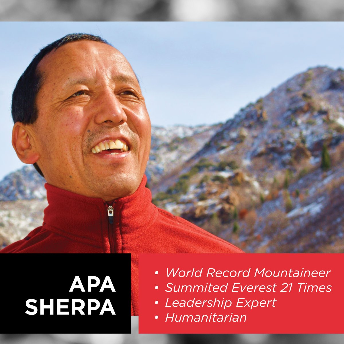 https://t.co/Tx5Z2KxgRj We are jumping backflips to announce the booking of our VIP Client, Apa Sherpa, the Michael Jordan of Mountain Climbing, at Weber State University, in Ogden, Utah, June 4 , 2020 Apa has scaled Mt Everest 21 times.  4 times without oxygen! WorldRecordHolder https://t.co/hbuP25IYeN