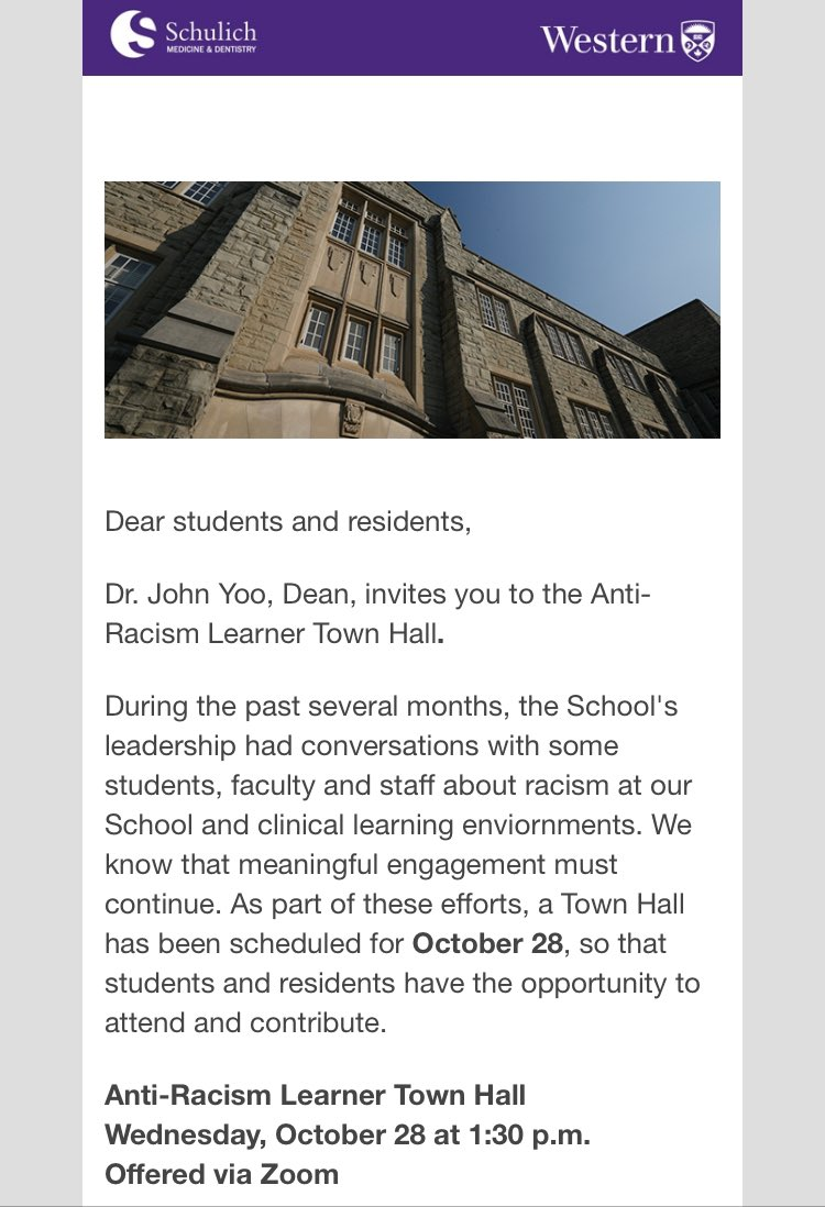 Attention @SchulichMedDent students & learners in undergrad, grad, med, & dent!! Attend the Anti-Racism Student/Learners Townhall to ask questions & voice comments/concerns about racism & anti-racism efforts at Schulich! This is your chance to be heard! westernuniversity.zoom.us/webinar/regist…