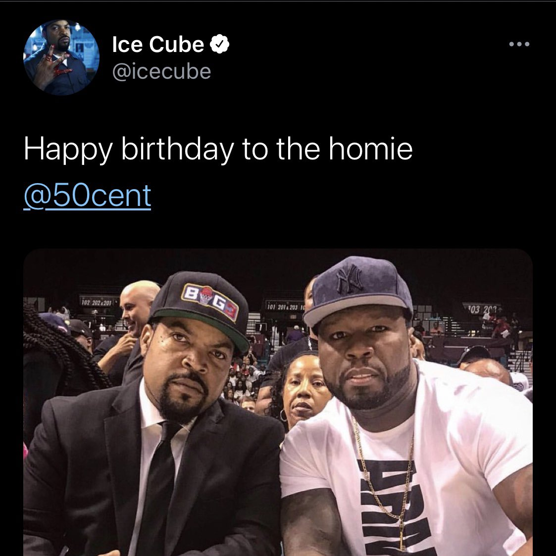 The Trump administration photoshopped a picture of 50 Cent and Ice Cube wearing Trump hats Here is the original and the fake