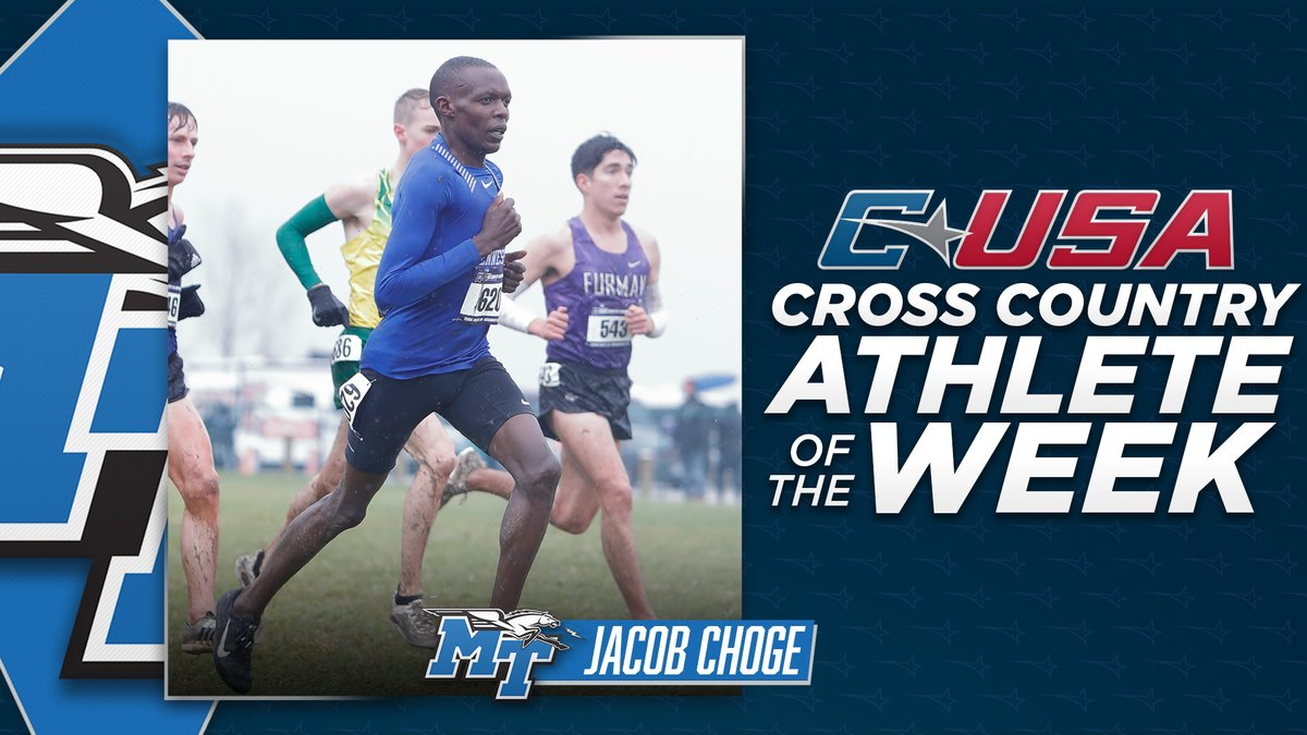 📢: Congratulations to @MT_TrackField's Jacob Choge, #CUSAXC Men's Athlete of the Week! 🏃  🏅1️⃣ | #TheCUSAWay https://t.co/Hfp0qqGUTh