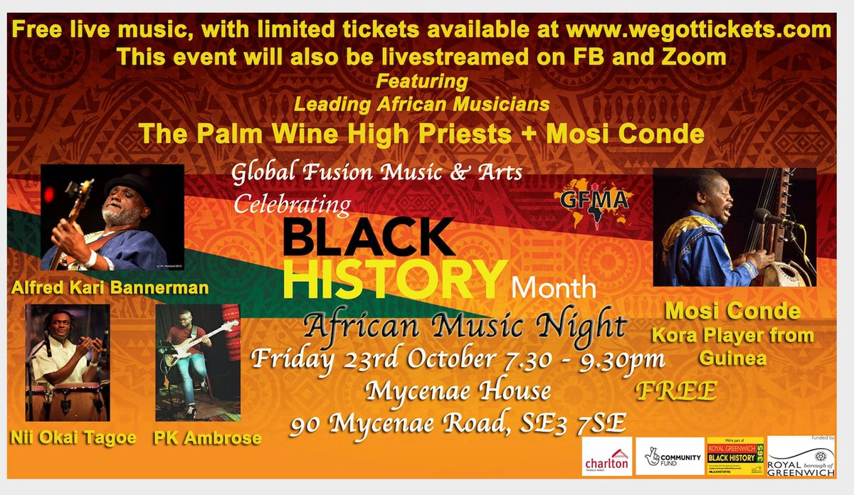 🎉#LIVE #AfricanMusic Night 🎉#FREE ..watch it LIVE On Zoom/Facebook! or we have Limited tickets left for the Live show @MycenaeHouse , #FridayVibes 23rd October 7.30-9.30pm (UK Time) #zoomcodes MeetID:88579870493 Passcode:866673, #BlackhistoryRG #BlackHistoryMonth #afrodance 🥳 https://t.co/bz3RP3LAtV