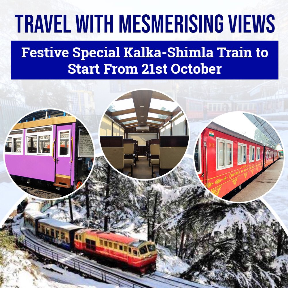 The festival special train between Kalka and Shimla will start operations from 21st October.  This will enhance ease of movement and provide a big boost to the tourism & hospitality sector.  Take all the necessary precautions while travelling for a safe & happy journey. https://t.co/GAxBLCtXLo