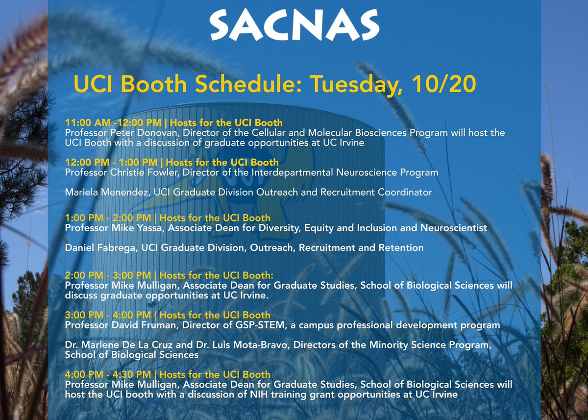 .@sacnas 2020 is underway! Check out @UCIrvine's booth schedule hosted by by @UCIBioSci and @UCIrvineSOM! To learn more visit https://t.co/uWZ8AWepEV!  #UCIGradLife | #UCIPostdocs | #SACNAS2020 https://t.co/L5mKP8RYdc