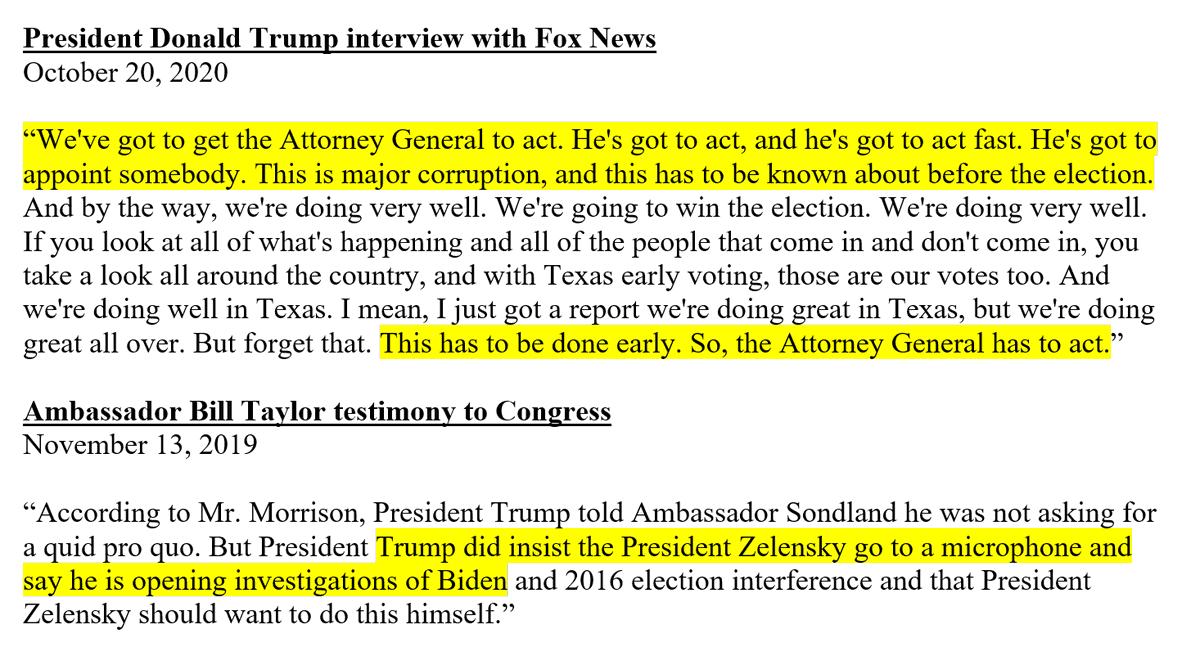 FULL CIRCLE: Trump today issued the same set of demands to Attorney General Bill Barr that he issued last year to Ukrainian President Volodymyr Zelensky: (1) Launch an investigation into Joe Biden and (2) make a public announcement. (There is no evidence of wrongdoing by Biden.)