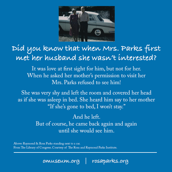 Did you know that when Mrs. Parks first met her husband she wasn't interested?  #LoveIsAllThatMatters #SitDownToStandUp #MontgomeryBusBoycott #startamovement #BeTheChange #rosaparks #inherownwords #loccrowdsourcing #libraryofcongress #BHM #omuseum #BLM https://t.co/mOT0f1FHxU