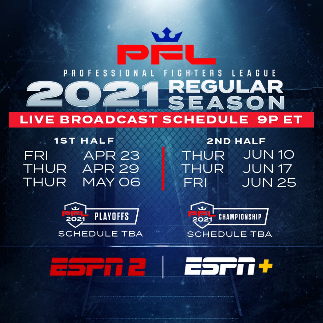 "PFL told its fighters today that they will be conducting the 2021 season at a single-site ""bubble"" in Las Vegas ""to ensure fighter safety and execution of the season."" Exact location TBD. This is the schedule: https://t.co/aBDH8hNNN2"