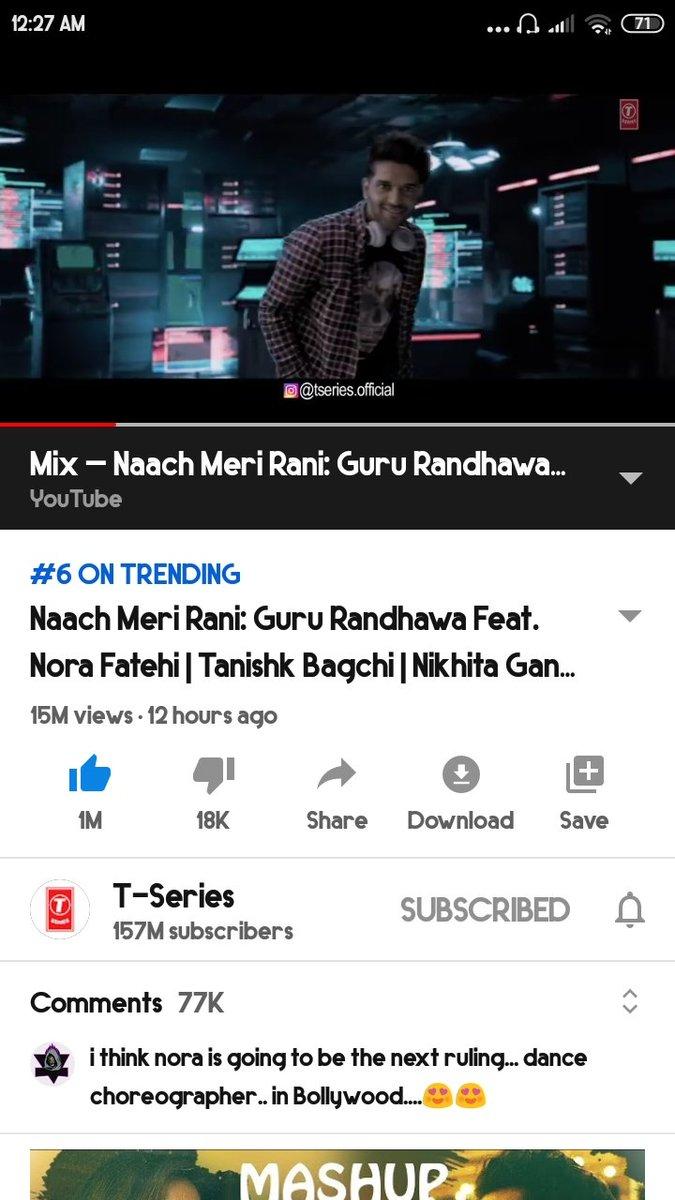 12 hours 15M views 🔥🔥 trending at no 6 in Bangladesh 💥💥💥  #NaachMeriRani #GuruRandhawa @GuruOfficial https://t.co/JusHmoqDJC