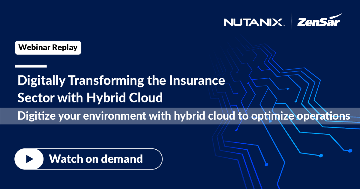 Watch our on-demand webinar hosted by Zensar and @nutanix that highlights how enterprises can easily adopt a #hybridcloud strategy that delivers agility, speed, and scalability. https://t.co/aAPBKVddsq   #DFSisHOW #DigitalInfrastructure #Insurance https://t.co/DNFgjDTofr