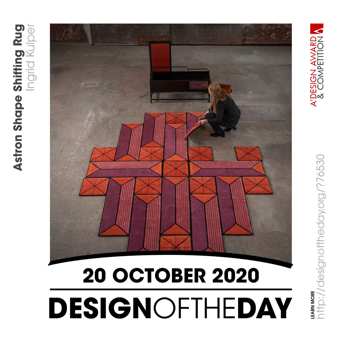 Congrats to Ingrid Kulper, the creator behind the Design of the Day of 20 October 2020 - Astron Shape-Shifting Rug. Check out this great work now. We are currently featuring it at https://t.co/NFAHWYccKt #designoftheday https://t.co/hj6gRngOYF