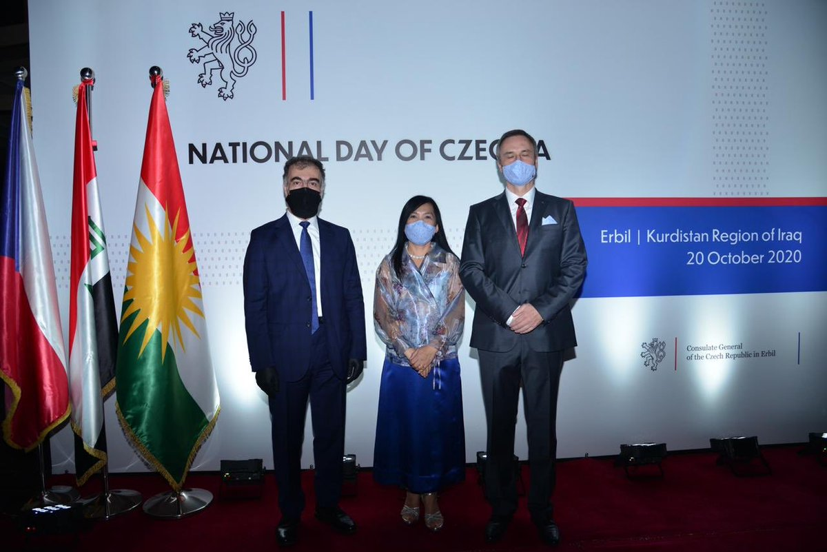Pleased to address the National Day reception of #Czechia by CG in Erbil; On behalf of the KRG, I expressed my congratulations to @MiiPraha, the people and govt of Czech Republic. Appreciate video message of FM @TPetricek. Proudly optimistic, I look forward to promoting our ties. https://t.co/QU3qUfzmIY