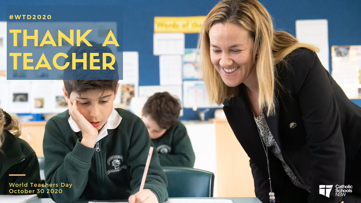 World Teachers Day is coming up on 30 October 2020! We have thousands of special teachers in our schools right across NSW who have done an amazing job this year. How will you give thanks for your teachers? Start planning today! 🙌😃#WTD2020 https://t.co/D5KvJKEYsB