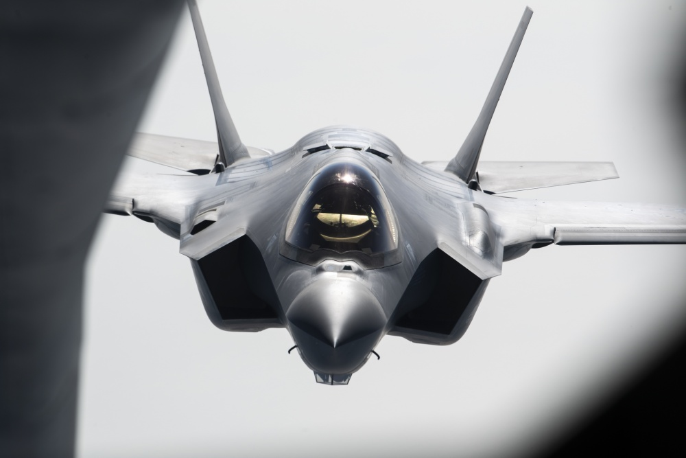 Looking right into Lightning ⚡ An F-35 Lightning II approaches a KC-135 Stratotanker over @CENTCOM. The F-35 Lightning II is an agile, versatile, high-performance, multirole fighter that combines stealth, sensor fusion and unprecedented situational awareness. #ReadyAF #AimHigh
