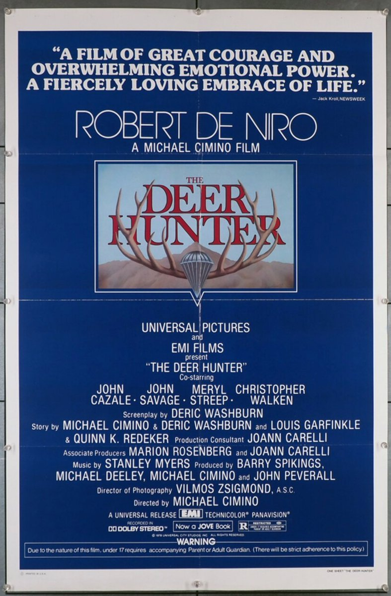 Even though this #movieposter for Michael Cimino's #BestPicture #Oscar winner, The Deer Hunter, 1978, features a critic's review, it is the original, first release poster. The other more common style mentions the #AcademyAward wins. $80. at #MovieArt, https://t.co/yP4HnRo9pG https://t.co/iS6Ln8b44Z