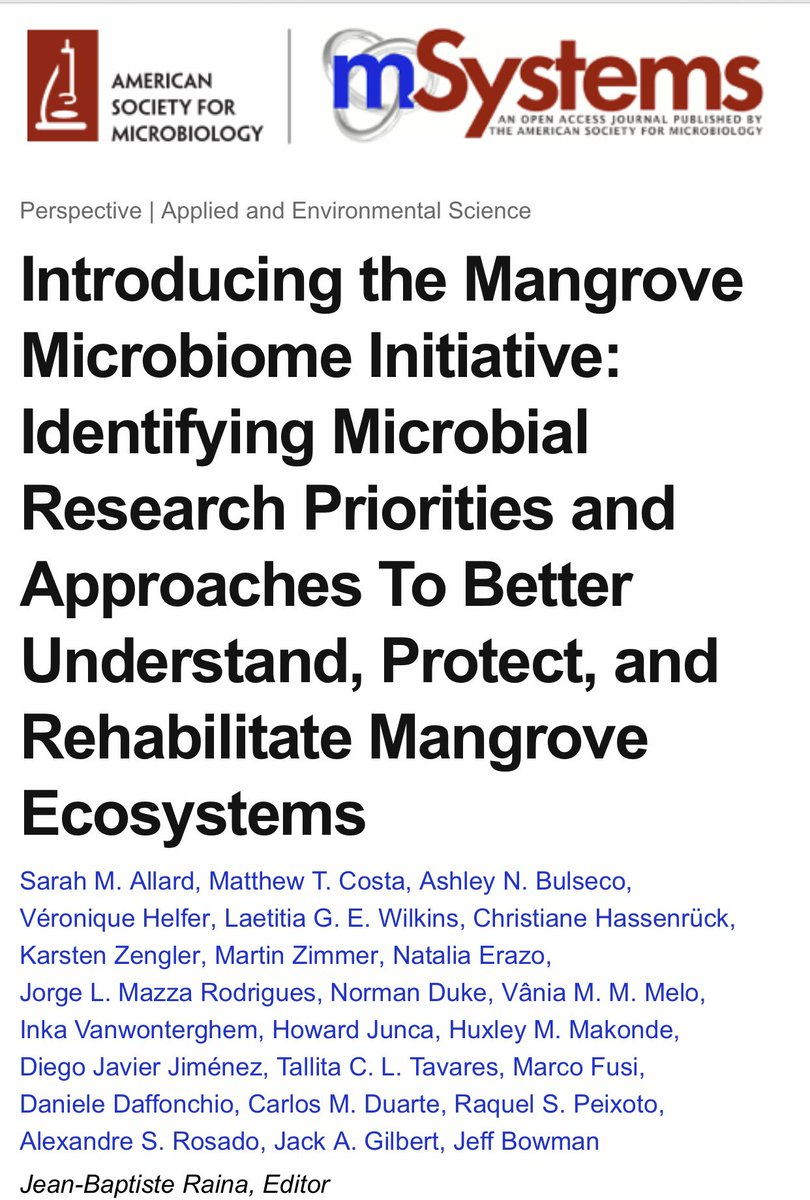 And another paper out! Thank you @peixotors @gilbertjacka Jeff Bowman and Sarah Allard for letting me be part of this important and beautiful Mangrove Microbiome Initiative 😍 For all mangrove microbiome lovers out there: Please join us!!!
