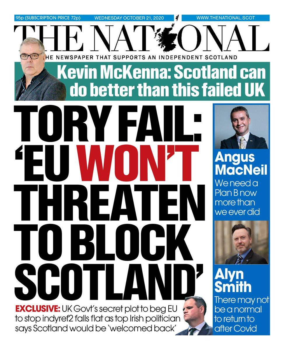 Tomorrow's front page: EU 'won't threaten to block Scotland' https://t.co/utdhn60Uyf