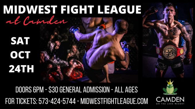Check this out! MMA brought to you @HToads by Midwest Fight League Oct 24th @CamdenontheLake  Get in on the excitement and grab your tickets now by calling 573-424-5744.   #mma #fight #fightleague #hornytoads #lakeoftheozarks #loz https://t.co/FGfkv1diNH