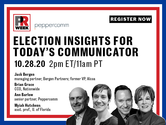 Join @PRWeekUS and @Peppercomm for their free webcast on Oct. 28 about how communicators can navigate this election cycle, featuring our very own Assistant Professor @MyiahHutchens! Use the link to register for what is sure to be an insightful discussion⬇️ https://t.co/py7QA1yV0d https://t.co/QgRgsNhB4R